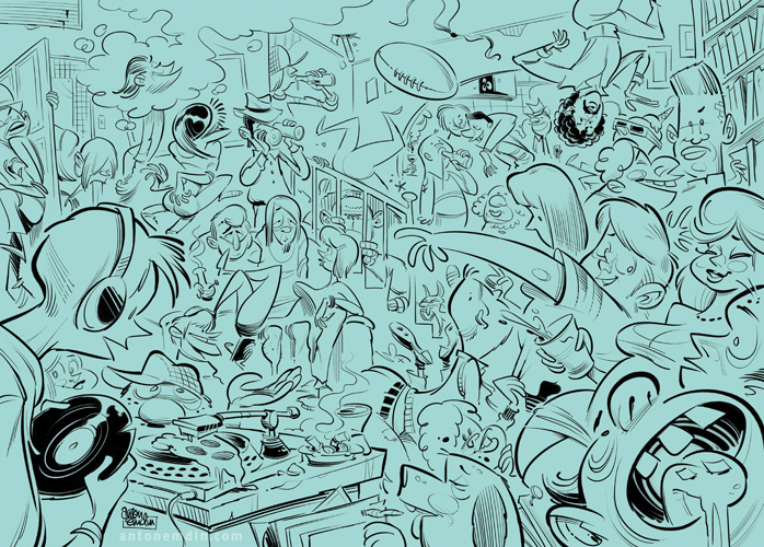 House Party illustration inks © Anton Emdin 2011