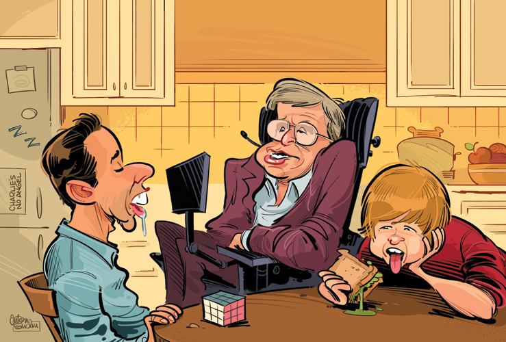 Two and a Half Men Rejects illustration (Stephen Hawking) for Australian MAD © Anton Emdin 2011