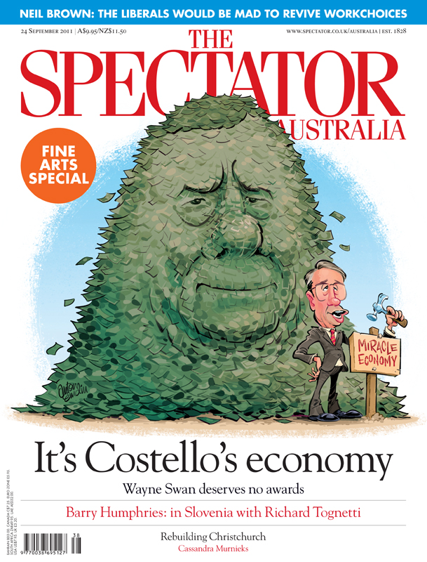 Peter Costello and Wayne Swan cover art for The Spectator Australia © Anton Emdin 2011