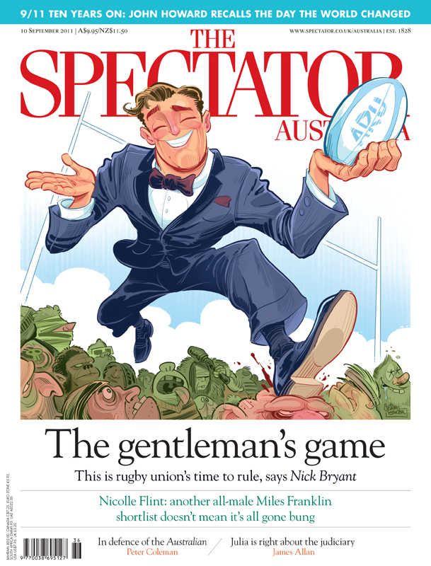 Rugby Union cover art for The Spectator Australia © Anton Emdin 2011