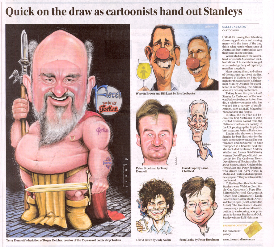 Stanleys 2011 article by Sally Jackson in The Australian, Monday 14th November, 2011