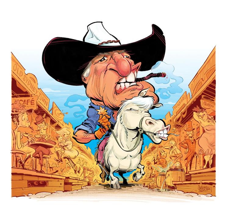 """Cowboy Katter"" art for The Spectator Australia © Anton Emdin 2011.  All rights reserved."