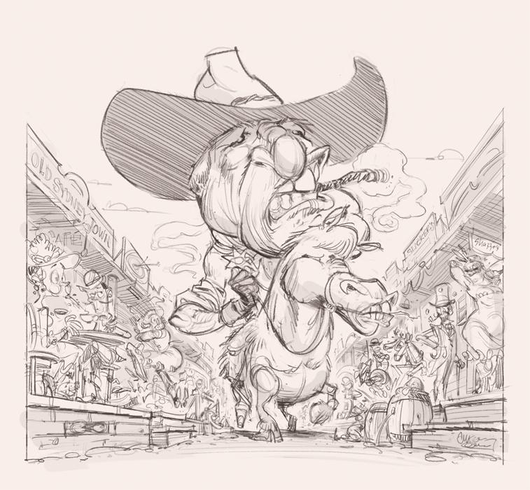 """Cowboy Katter"" sketch for The Spectator Australia © Anton Emdin 2011. All rights reserved."