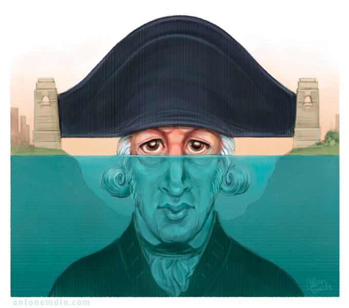 'Captain Arthur Phillip' illustration for The Spectator Australia. Illustration © Anton Emdin 2012. All rights reserved.