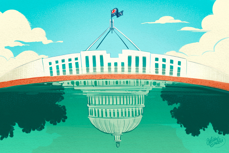 'Americanisation of Australian Politics' illustration for The Global Mail by and © Anton Emdin 2012. All rights reserved.