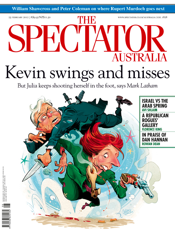 Gillard & Rudd Fight! Illustration for The Spectator Australia © Anton Emdin 2012. All rights reserved.