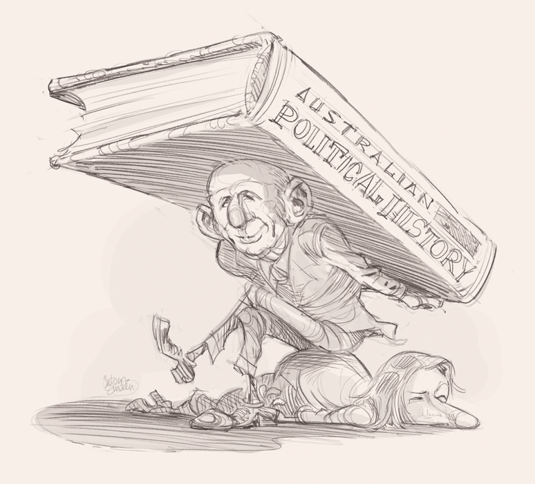 McMahon and Gillard cover art (sketch) for The Spectator Australia © Anton Emdin 2012.  All rights reserved.