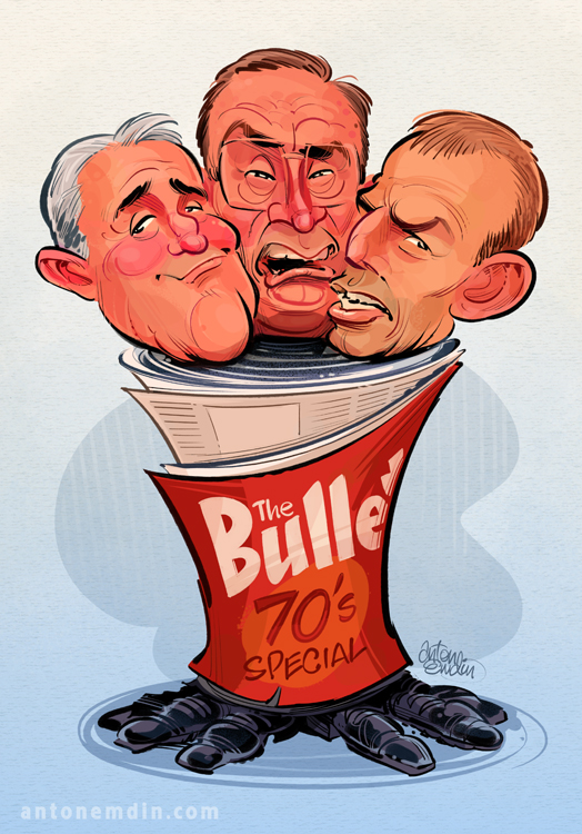 The Bulletin Boys: Tony Abbott, Malcolm Turnbull and Bob Carr - illustration for The Global Mail © Anton Emdin 2012