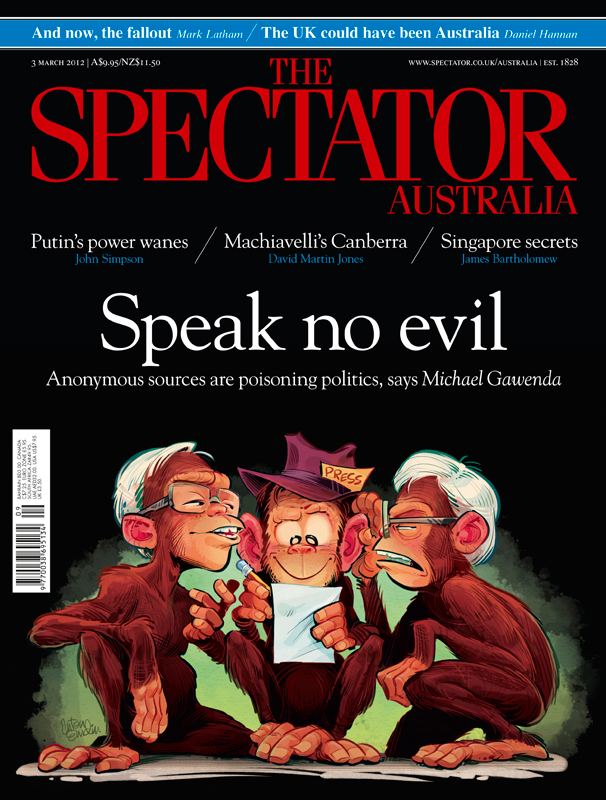 Speak (No) Evil cover art for The Spectator Australia by and © Anton Emdin 2012.  All rights reserved.
