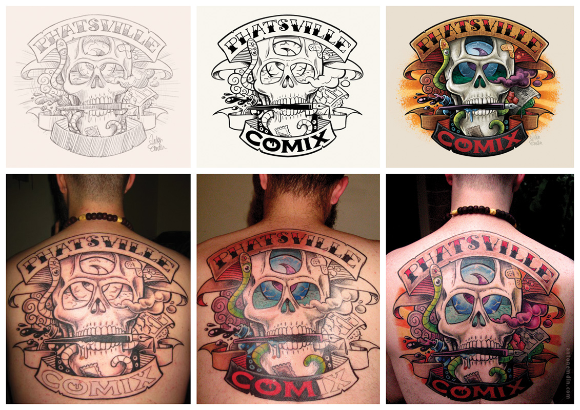 Custom 'Phatsville' Tattoo (process) for Giles Kilham - art © Anton Emdin 2009