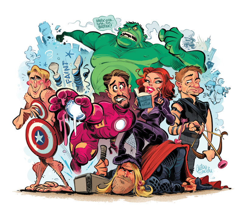 'Super Powers You Didn't  Know The Avengers Have' for MAD Magazine. Drawn by Anton Emdin and © EC Publications, 2012.