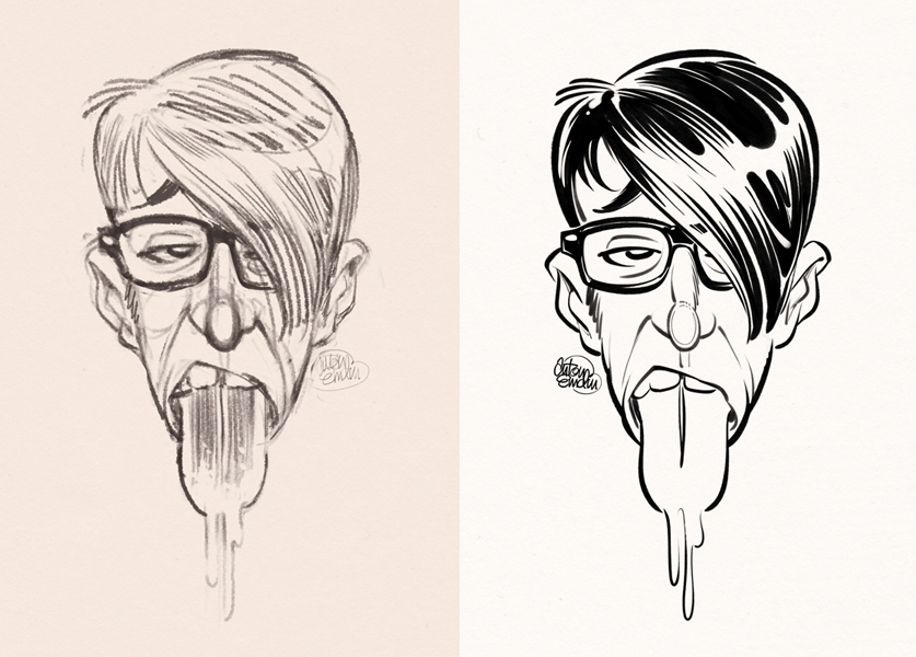 'Blue Tongued Hipster' art (sketch and inks) © Anton Emdin 2012. All rights reserved.