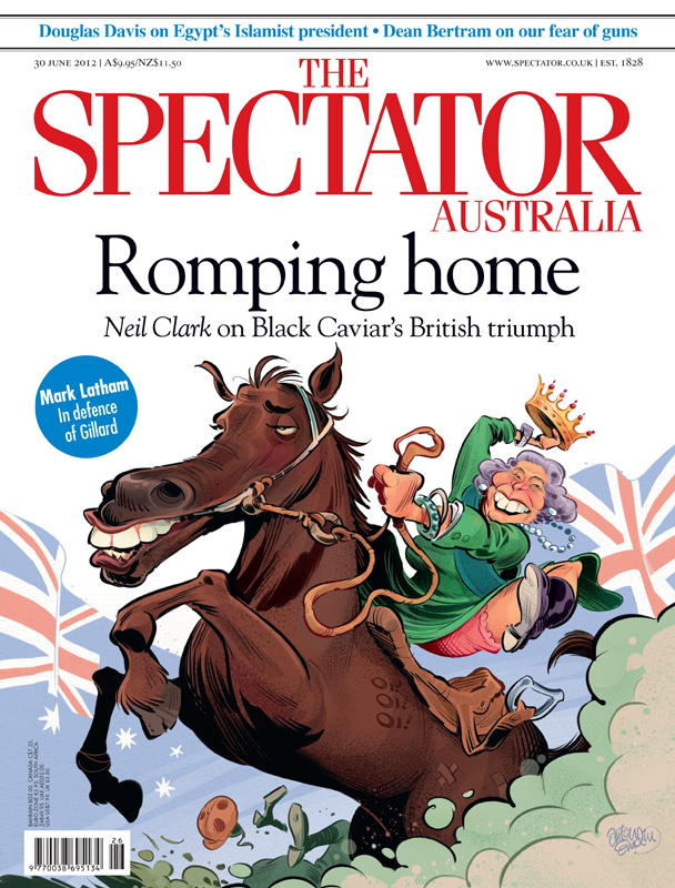 'Black Caviar' cover art for The Spectator Australia - Illustration © Anton Emdin 2012. All rights reserved.