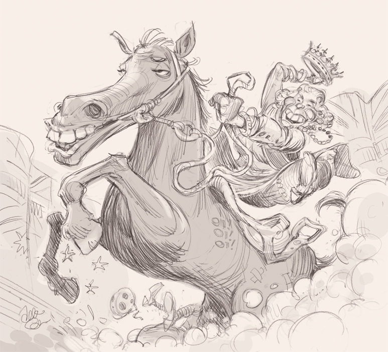 'Black Caviar' cover art (sketch) for The Spectator Australia - Illustration © Anton Emdin 2012. All rights reserved.