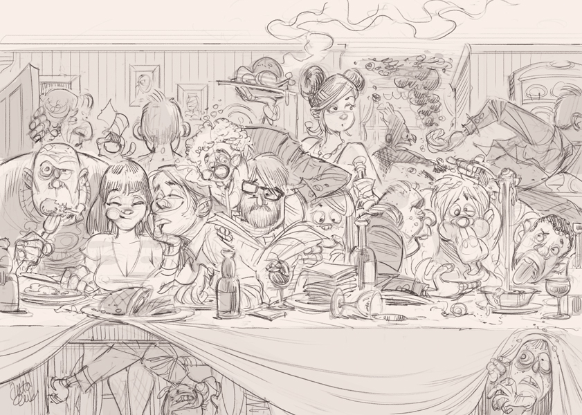 Dinner Party Illustration (sketch) © Anton Emdin 2012.  All rights reserved.