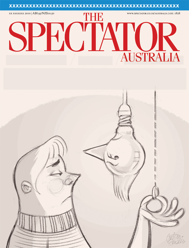 'Lights Out' cover art (sketch) for The Spectator Australia © Anton Emdin 2012. All rights reserved.