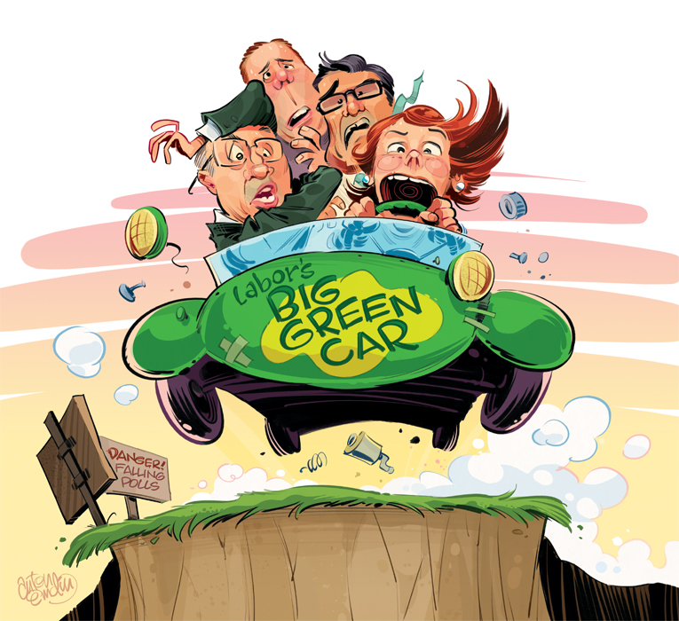 'Labor's Big Green Car' illustration for The Spectator Australia by and © Anton Emdin 2012.  All Rights Reserved.