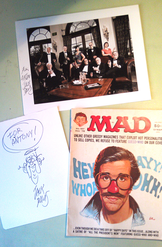 A MAD Mail Day - Sketch and autographed photo by Jack Davis and December 1976 issue of the magazine