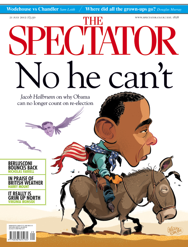 "President Barrack Obama's 2012 Election run ""No He Can't"" for The Spectator UK and Australia by and © Anton Emdin 2012. All Rights Reserved."