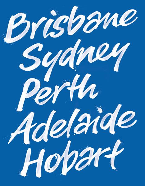 Australian cities hand lettering for tennis advertising - Brisbane, Sydney, Perth, Adelaide, Hobart © Anton Emdin 2012