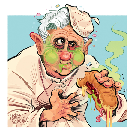 Green Pope for Australian MAD Magazine - Pope Benedict XVI is sick from a rotten sandwich.  Illustration © Anton Emdin 2012.  All rights reserved.