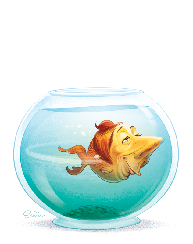 Short Memory cover art for The Spectator Australia featuring PM Julia Gillard as a goldfish © Anton Emdin 2012.  All Rights Reserved.