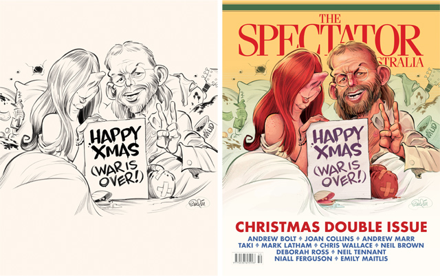 Christmas Cover art for The Spectator Australia featuring Julia Gillard and Tony Abbott as John Lennon and Yoko Ono (parody of the historic Bed-In for Peace campaign of 1969).  Illustration © Anton Emdin 2012.