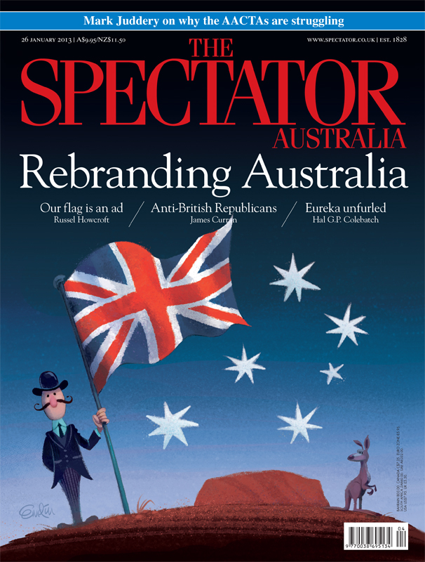 Australian flag cover art for The Spectator Australia to coincide with Australia Day.  Illustration © Anton Emdin 2013.  All rights reserved.