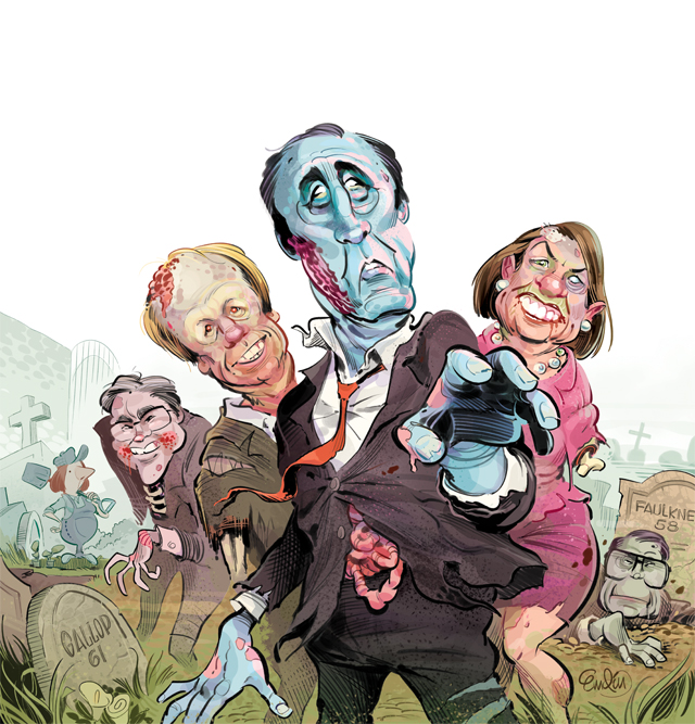 "Cover art for The Spectator Australia depicting Paul Keating, Anna Bligh, Peter Beattie, Geoff Gallop and John Faulkner as zombies.  Headline: ""Back from the dead"", with subheader: ""Barry Cohen on how to breathe life back into the Labor Party.""  Illustration © Anton Emdin 2013.  All rights reserved."