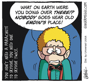 """Nobody goes near Old Emdin's place!"" panel from Ginger Meggs comic strip.  Copyright © Ginger Meggs / Jason Chatfield 2013"