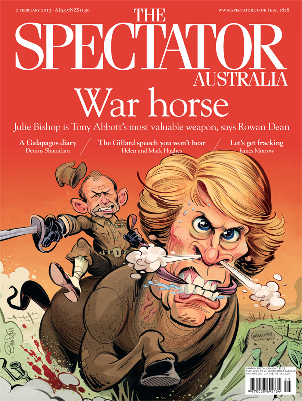 'War Horse' cover art for The Spectator Australia featuring Tony Abbott and Julie Bishop.  Illustration © Anton Emdin 2013.  All rights reserved.