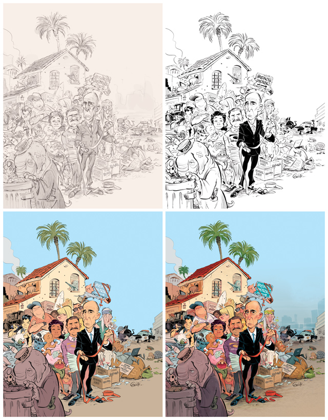 Cover art (process) for The Weekly Standard (USA) featuring Governor Jerry Brown and the State of California.  Illustration © Anton Emdin 2013.  All rights reserved.