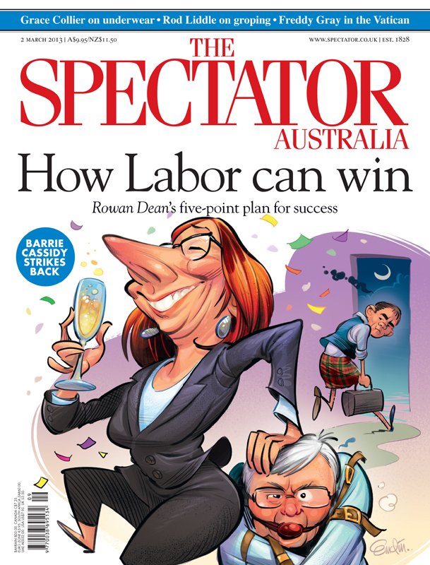 'How Labor Can Win' cover art for The Spectator Australia.  Illustration © Anton Emdin 2013.  All rights reserved.  Colouring by David Follett and Anton Emdin.