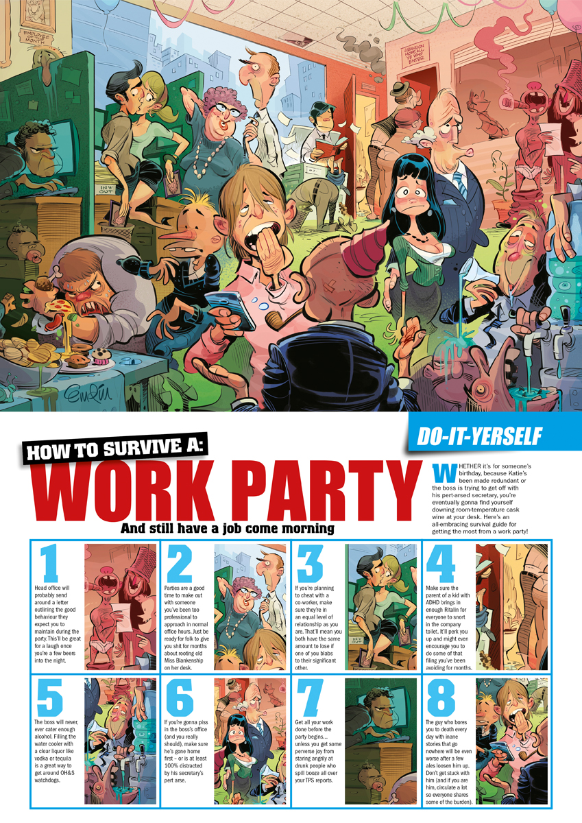 Office Party illustration for People Magazine (Aust.) - Illustration © Anton Emdin 2013.  All rights reserved.