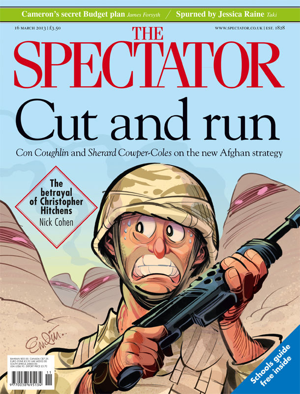 'Cut and Run' cover art for The Spectator (UK) on Brtiain's withdrawal from Afghanistan.  Illustration © Anton Emdin 2013.  All rights reserved.