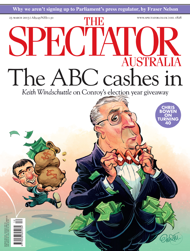 Spectator cover art featuring Stephen Conroy and ABC managing director Mark Scott.  Illustration © Anton Emdin 2013.  All rights reserved.