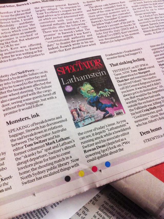 'Strewth' column in The Australian newspaper 5/4/2013 featuring Spectator Australia cover art by Anton Emdin.