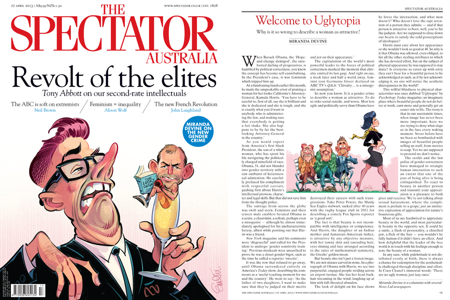 Cover art and interior for The Spectator Australia, 26 March 2013.  Illustrations © Anton Emdin 2013.  All rights reserved.
