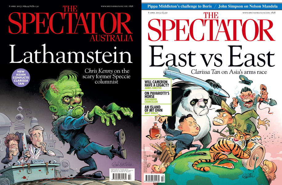 Double Spectator week!  East Vs East and Lathamstein cover art © Anton Emdin 2013.  All rights reserved.