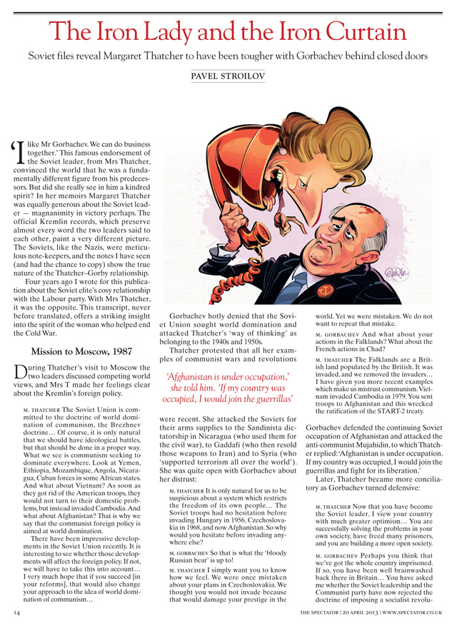 Margaret Thatcher Vs. Mikhail Gorbachev illustration for The Spectator by and © Anton Emdin 2013.  All rights reserved.