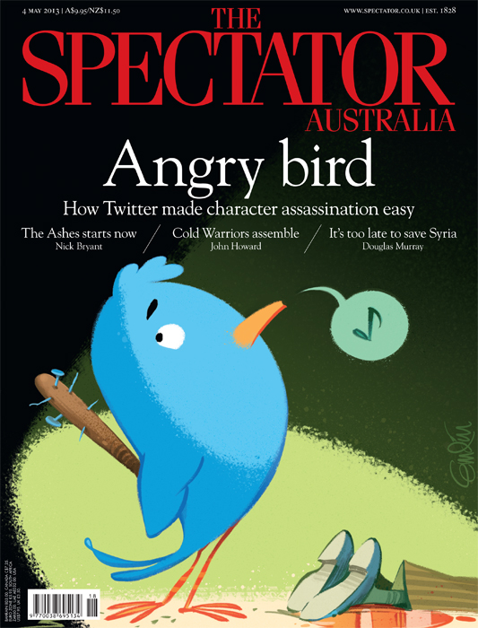 Twitter Bully cover art for The Spectator Australia  Illustration © Anton Emdin 2013.  All rights reserved.