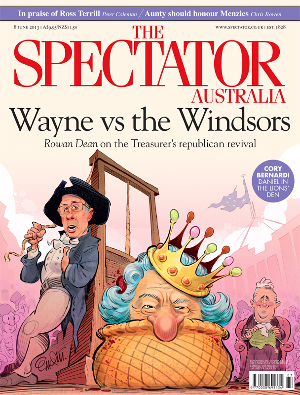'Wayne Vs. The Windsors' (or Swan Kills the Monarchy) cover art for The Spectator Australia.  Illustration © Anton Emdin 2013.  All rights reserved.