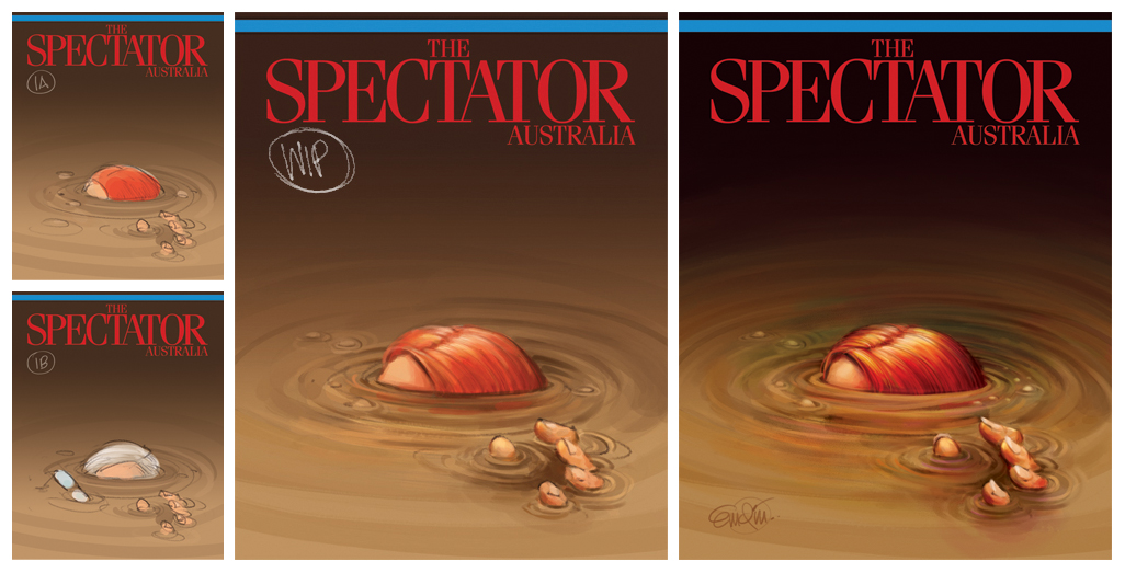 """Sunk!"" Spill art (process) for The Spectator Australia Illustration © Anton Emdin 2013.  All rights reserved."