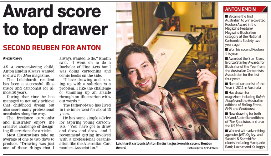 Anton Emdin in the Inner West Courier, July 2013