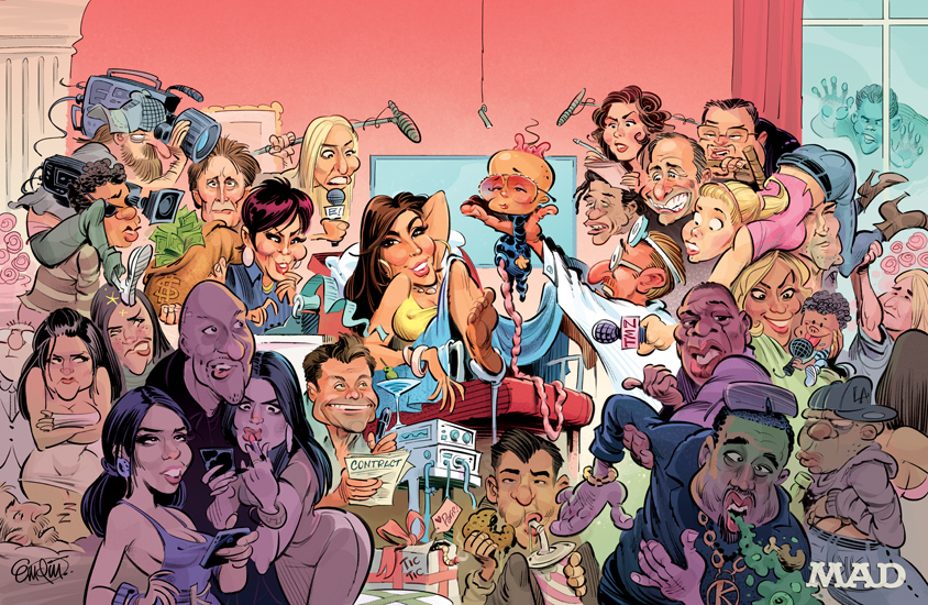 'Overheard in Kim Kardashian's Delivery Room' double-page art for MAD Magazine - illustration by Anton Emdin 2013.
