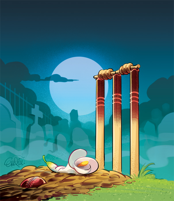 'Death of Cricket' cover art for The Spectator Australia -- Illustration © Anton Emdin 2013.  All rights reserved.