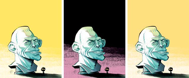 'Abbott Bust' cover art (process) for The Spectator Australia -- Illustration © Anton Emdin 2013.  All rights reserved.