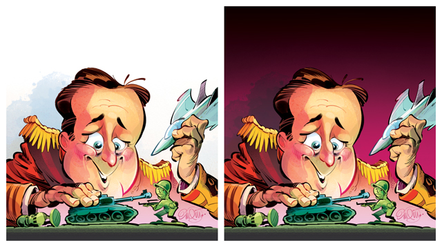 'Cameron's Wars' cover art (process) for The Spectator -- Illustration © Anton Emdin 2013.  All rights reserved.