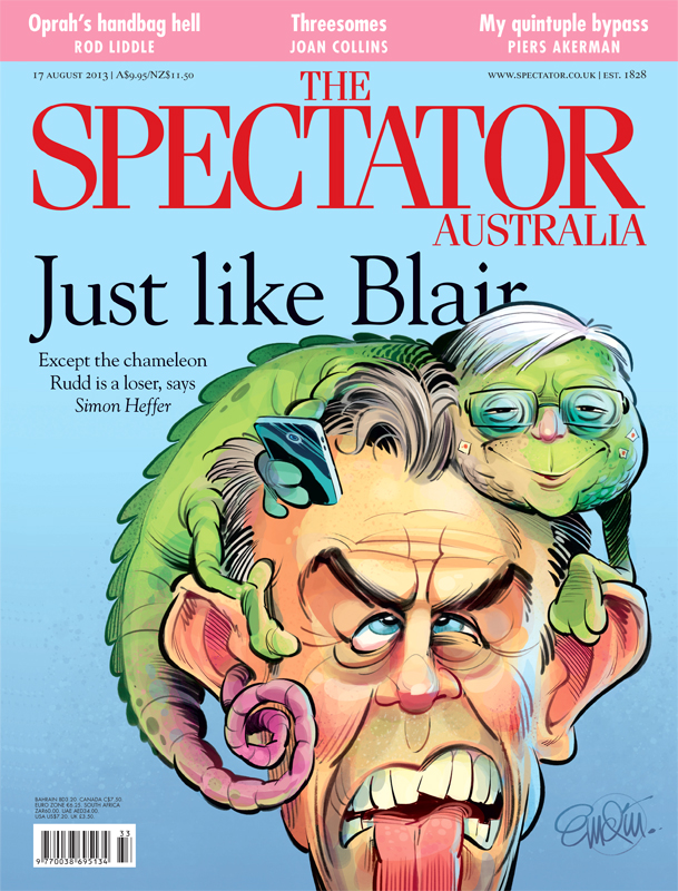 'Blair and Rudd' cover art for The Spectator Australia.  Illustration © Anton Emdin 2013.  All rights reserved.