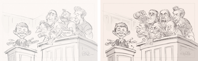 "MAD #523 ""Things You May Not Know About the Jury System"" (roughs).  Illustration by Anton Emdin 2013"